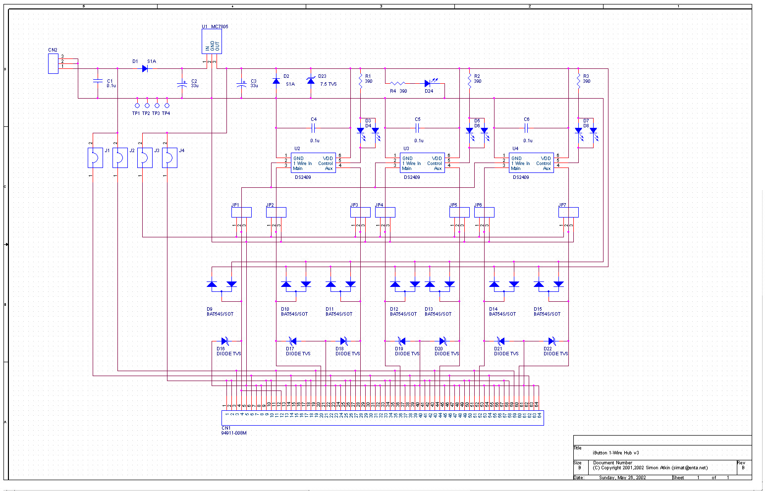 One Wire Schematic Just Another Wiring Diagram Blog 1 Hub Version 3 Simat Electronic Projects Rh Org Uk Electrical Schematics